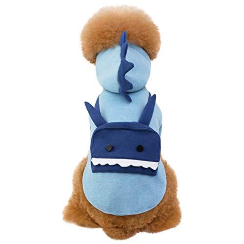 Katze Kostüm Dinosaurier - Katze Hund Mantel,Dinosaurier Kostüm Kapuzenjacke,Haustier Plüschkleidung Baumwollkleidung Kältefeste Weste, Sweatshirt Party (XL, Blau)