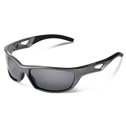 Duduma Gafas de Sol Deportivas Polarizadas Para Hombre Perfectas Para Esquiar Golf Correr Ciclismo TR821 Súper Liviana Para Hombre y Para Mujer (marco gris plata con lente negro)