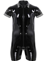 0460f71bd9 YiZYiF Herren PU & Mesh Halb Transparent Overalls Dessous Unterhemd Fitness Bodysuit  Schwarz Sportwear Clubwear