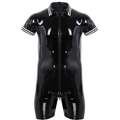 YiZYiF Herren PU & Mesh Halb Transparent Overalls Dessous Unterhemd Fitness Bodysuit Schwarz Sportwear Clubwear Schwarz Catsuit Medium