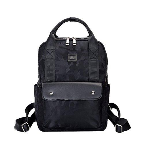 Frauen Leder Rucksack Für Mädchen Kordelzug Schultasche Casual Daypack,Black-M