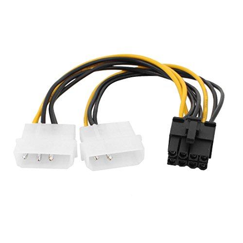 sourcingmap® 2x LP4 auf 8 Pin PCIE PCI Express Grafikkarten-Stromkabel Adapter Strom Kabel