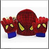 Zhangmeiren Kinderhandschuhe Babykarikatur Handschuhe, Wollmütze Huangren Qiu Warmen Winter Hut Strickmütze Sicherungs (Color : Red)