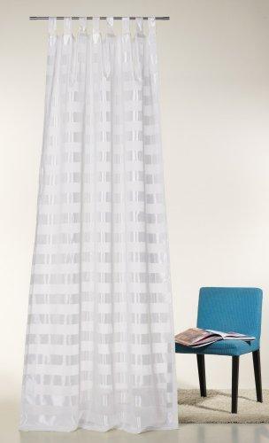 Schlaufenschal, Gardine, Vorhang 'Elena' Höhe 245 x 140 cm mit 8 Schlaufen. Neu im Angebot! Farbe: weiß