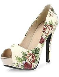 Zapatos de mujer PU Fall Sandals Stiletto Heel Platform Peep Toe para Casual Beige Azul ( Color : Beige , tamaño...