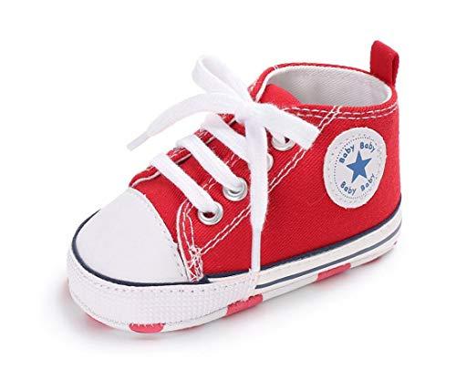 Auxma Zapatos Para Bebé La Zapatilla de Deporte Antideslizante del Zapato de Lona de La Zapatilla de Deporte Para 3-6 6-12 12-18 M (6-12 M, Rojo)
