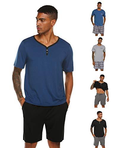 Herren Schlafanzug Pyjama Kurz Nachtwäsche 2-Teiler Shorty inkl. Hose Oberteile für Sommer Sauna (3 Farben S~XXL) (XXXL, 5315-Blau) -