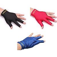 ZXJOY Guantes de billar con 3 dedos para hombre y mujer, para mano izquierda, 3 piezas, A