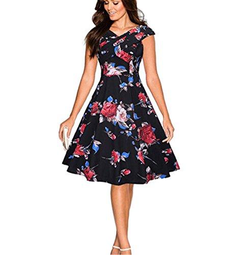 ❤️ Blumenkleider, Loveso Damen Frauen Retro Audrey Hepburn Ärmellos 50s Kleid Elegante A-linie Rockabilly 50er Vintage Kleid Petticoat Faltenrock (Schwarz❤️, L) (Vintage Geburtstag Kleid)