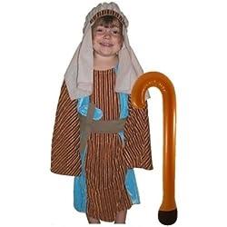 Disfraz de pastor Multicolour Joseph con ladrón: Childs tamaño grande 10–12años disfraz de Belén