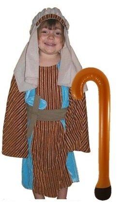 Schäferhund-Joseph Kostüm mit Crook: Kinder Größe L 10–12Yrs Krippe Fancy (Joseph Krippe Kostüme)