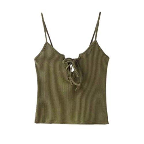 Bluestercool Frauen Gestrickte Crop beiläufige Baumwolle Cami Tank Tops Khaki