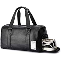 UBaymax Bolsa de Viaje en Cuero PU con Compartimiento de Zapatos,Bolsa de Deporte Grande,Bolsa de Gimnasio Impermeable,Mano Reforzada de Manija Ajustable Extraíble para Trabajo(Cuero de PU)