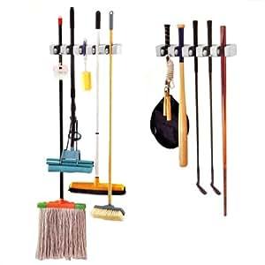 trixes support de rangement mural pour balais clubs de golf mops outils de jardin. Black Bedroom Furniture Sets. Home Design Ideas