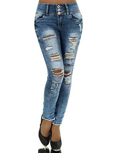 N281 Damen Jeans Hose Corsage Damenjeans High Waist Röhrenjeans Hochbund, Farben:Blau, Größen:34 (XS)