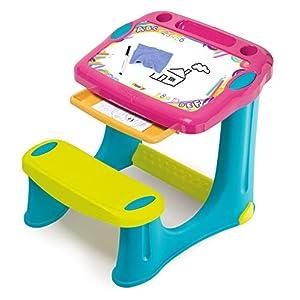 Smoby 420219 Schreibtisch Magic Pink, Kinder-Schreibtisch mit integrierter Sitzbank und Schublade aus Kunststoff für…