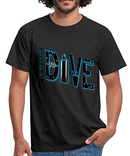Spreadshirt Tauchen Born to Dive Männer T-Shirt, 4XL, Schwarz