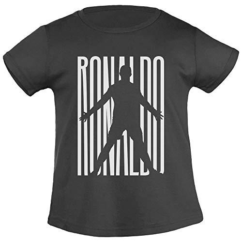 Maglietta bimbi fans ronaldo - juventini cristiano t-shirt maglietta bambina 6-8 anni (118/128cm) nero