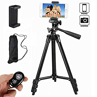 Ibeston Phone Tripod 42 Inch 106cm Aluminum Lightweight Tripod with Holder Mount and Bluetooth Wireless Remote Shutter for Camera and iphone Samsung and Other Brands Smartphones(Black)