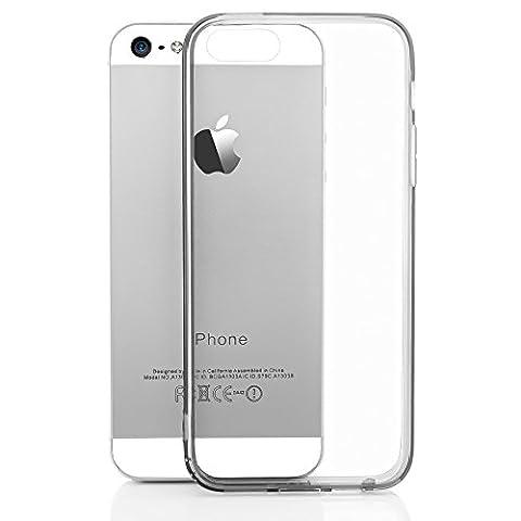 iPhone SE 5 5S Coque Silicone de NICA, Ultra-Fine Housse Transparente avec Contour de Protection Cover Slim Etui, Mince Telephone Portable Gel Bumper Case pour Apple iPhone 5 5S SE - Gris