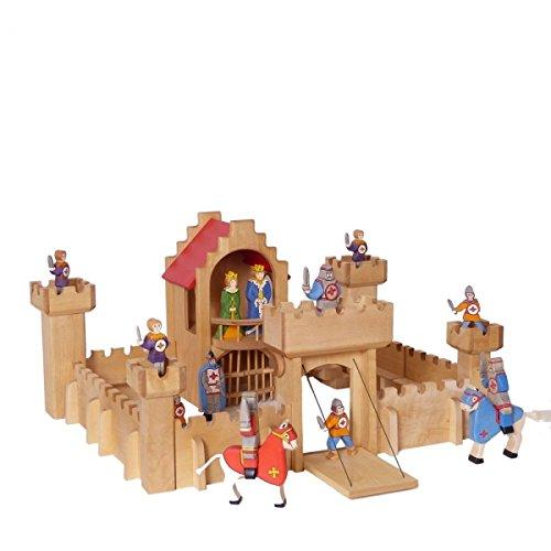 Kinder Ritterburg | Spielzeug-Schloss | Kids-Castle | Massiv-Holz | flexibel aufzubauen | mit Zugbrücke und Turm | vielfältige Spielmöglichkeiten | spannende Ritterspiele | rettet die Prinzessin | langlebig und robstes Material |
