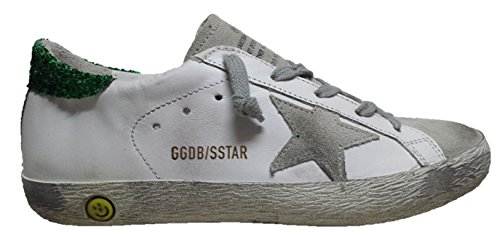 GOLDEN GOOSE DELUXE BRAND SUPERSTAR SNEAKERS G29KS301 WHITE GREEN GLITTER V5
