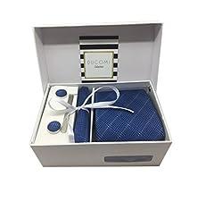 Idea Regalo - Ducomi Gentleman - Raffinato Cofanetto Coordinato Uomo Composto da Cravatta, Gemelli, Fermacravatta e Fazzoletto da Taschino - Elegante e Classico Regalo (Luxury)