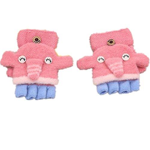 nter 1-3 Jahre alt Cartoon Warm Handschuhe Kind Half Finger Gestrickt Handschuhe (Little Elephant-Rose rot) (Cartoon Handschuhe, Die Hände)