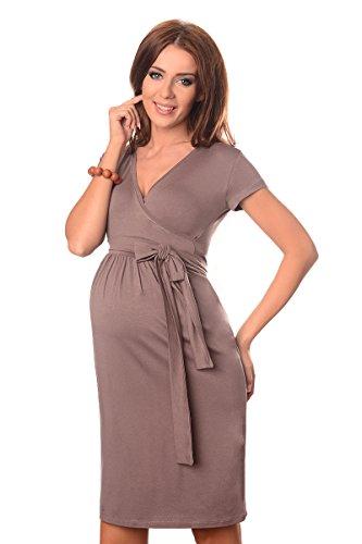 Purpless Maternity V-Ausschnitt Cocktailkleid Schwangerschaftskleidung 5416 Cappuccino