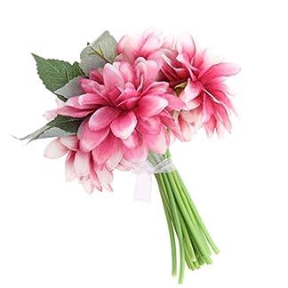 16pcs Ramo de Flores de Dalias Artificiales de Tela con Tallos y Hojas Decoración de Centro de Mesa de Boda de Hogar