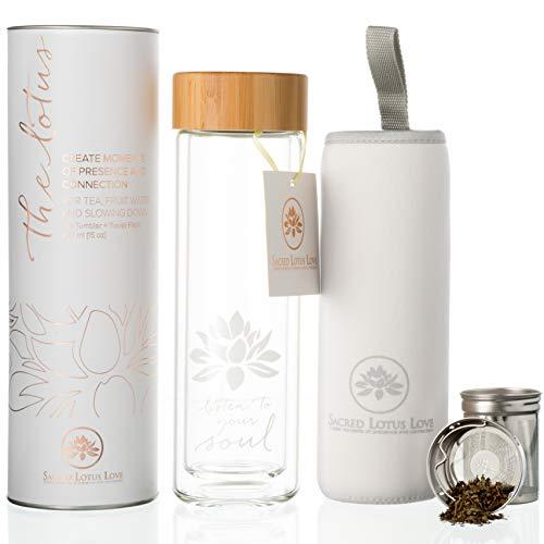 Die Lotus Glas Tea Tumbler Travel Flasche mit-Ei und Sieb für Hot lose Leaf & Ice Tee. Kalten Brew Kaffee oder Obst Wasser Maker. 444ml. Deckel aus Bambus. Geschenk bereit, schön verpackt.