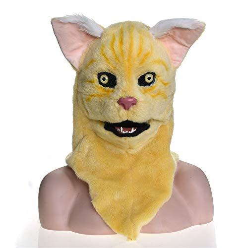 RONGLINGXING Gelbe Katze Kopf Maske, Neuheit Halloween Karneval Geburtstag Party Kostüm realistische handgemachte angepasst Tier Cosplay beweglichen Mund mit Fell verziert (Kostüm Realistische Katze)