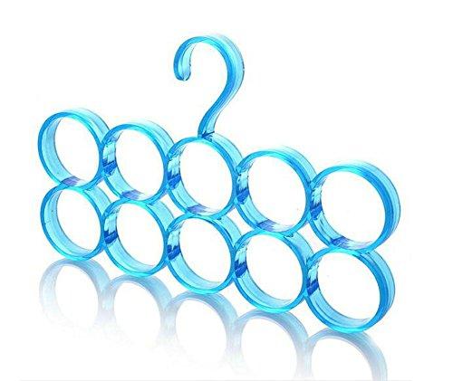 westeng Kleiderbügel Haken Kunststoff 10verschiedenen Funktionen Kreis Kleiderbügel Regal für Schal und Krawatte Hanger Veranstalter Gürtel, 1pcs Unico Tamaño blau