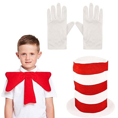 GCC Fashion Store Kinderkostüm nach 'Der Kater mit dem Hut / Ein Kater macht Theater' von Dr. Seuss, Set bestehend aus Hut, Handschuhen und Fliege