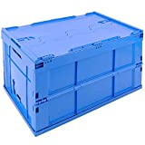PrimeMatik - Eurobehälter Kunststoff EuroBox klapp und stapelbarer. Stapelbox Blauer mit Deckel 60x40x32cm 65L