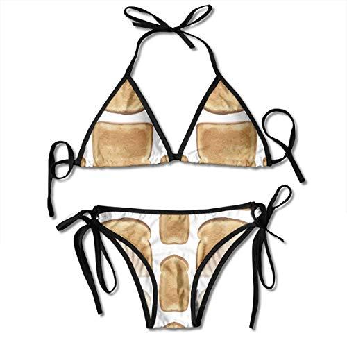 Sexy Triangle Bathing Two Pieces Toast Women Triangle Bikini Set Tie Side Padded Two Piece Swimsuit