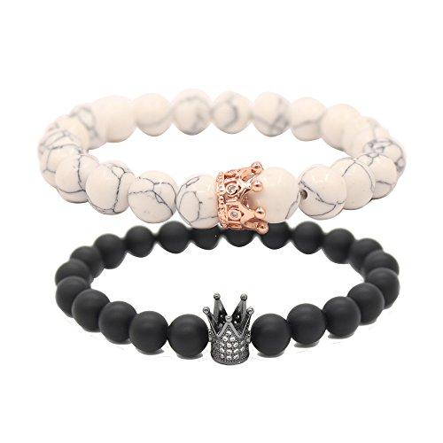 UEUC Paar Distanz Armbänder mit CZ Crown King & Queen Seine Freundschaft Schwarz Matt Achat Stein 8mm