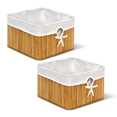 2 x Aufbewahrungskorb Natur im Set, aus Bambus, Faltbarer Regalkorb mit Stoffbezug, mit rundem Eingriff