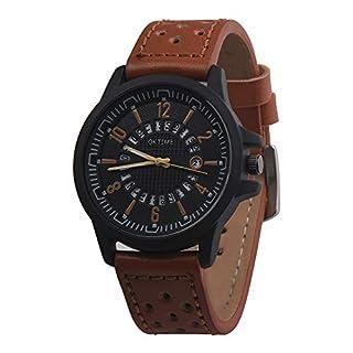 Fashion Men Retro Design Leather Band Analog Alloy Quartz Wrist Watch