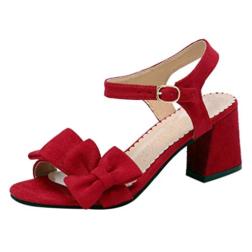 Women's Solid Color Sandals Student Shoes Wild Thick Sandals Ladies Sandals Moda Sandali Donne Pantofole Ciabatte Infradito Elegante Tacchi Slippers Perfette per Regalo Rosso,Nero,Giallo,Beige