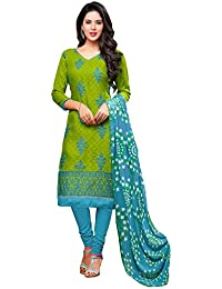 Regalia Ethnic Women's Cotton Dress Material (MFRE131_Free Size_Green)