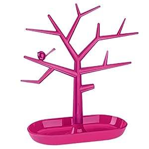 koziol arbre à Bijoux [pi:p] M, thermoplastique, rose fuchsia opaque/transparent, 12,8 x 27,3 x 30,6 cm