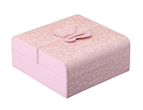 iSuperb® Reise Schmuckkasten Schmuckbox PU Leder Klein Schmuckschatulle für Ringe Ohrringe Uhren Armbänder Weihnachtsgeschenke Geschenk 15x15x6.5cm (Rosa)