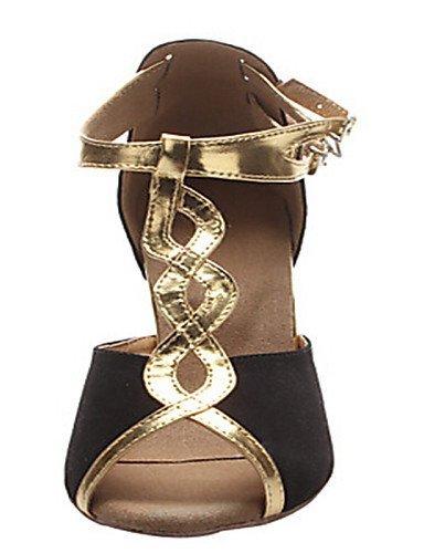 ShangYi Chaussures de danse(Noir) -Personnalisables-Talon Personnalisé-Flocage-Latine / Jazz / Salsa / Samba / Chaussures de Swing black and gold