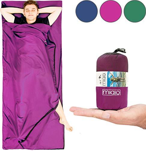 MIQIO® 2in1 Hüttenschlafsack mit durchgängigem Reißverschluss (Links/rechts): Leichter Komfort Reiseschlafsack + XL Reisedecke in Einem - Sommer Schlafsack Innenschlafsack Inlett Inlay - Roseviolett (Auf Einem Standard-bett In Einem Beutel)