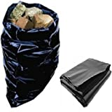 100 Strong Heavy Duty Large Black Plastic Polythene Builders Bags Size 20 x 30' / 500 x 750mm Durable Rubble Brick Gravel Sand Aggregate Wood Timber Storage Sacks