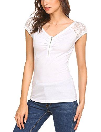 ad3c542fb1bd3e Beyove Damen Sexy V-Ausschnitt Wickelshirt Kurzarm Langarm Slim Fit Shirt  Bluse Obertail mit ...