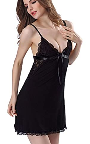 Aibrou Womans Sexy Lingerie Nightdress Sleepdress Strappy V neck Backless Comfortable Lace Chemise Full Slip Sleepwear Nightwear Dress
