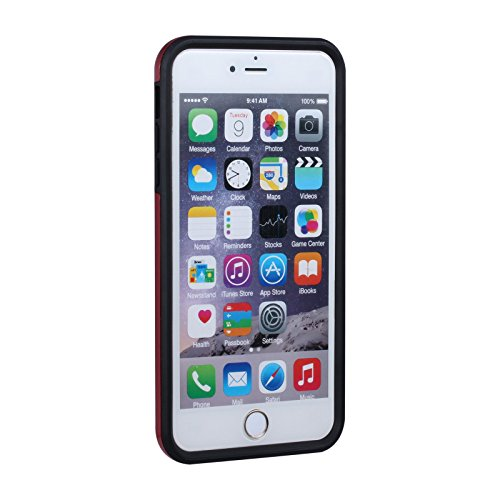 """HYAIT® For APPLE IPHONE 6 PLUS 5.5""""Case[C72][METAL][COLOR LINE][Holder] TPU+PC Premium Hybrid Shockproof Kickst Bumper Full-body Rugged Dual Layer Stents Cover-RED&BLACK IPHONE 6 5.5-C72-BLACK&GREY"""