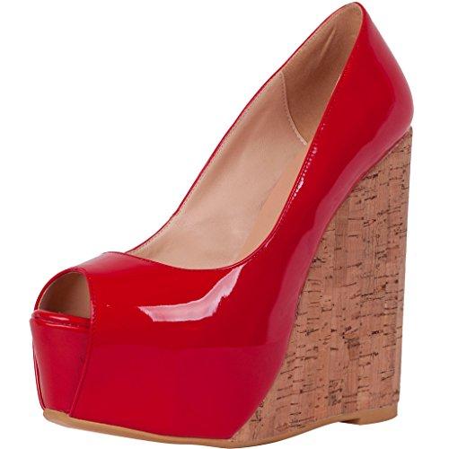 Calaier Donna Cabrush Wedding Sexy Piattaforma Large Size Peep Toe Scarpe Tacco Pompe 15CM Zeppa Scivolare Su Sandali, rosso, 44